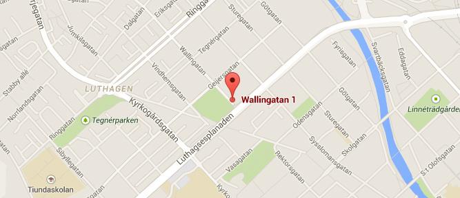 Kliniken Wallingatan 1, Uppsala på kartan